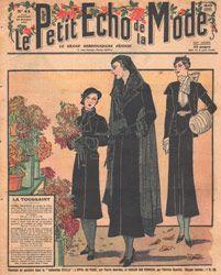 Le petit echo de la mode, Lady in Black Mourning Dress with Flowers - 'La Toussaint' (All Saints Day)