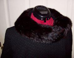 Vintage 1950s Ladies Black Wool Coat w/ Mink by SusOriginals, $40.00