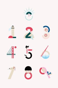 Illustrated travel numbers created by María Hdez.