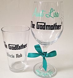 Your godparents will be surprised when you give them each what they want- a beer pint glass for the godfather and a wine glass for the Godmother. You can also request 2 wine glasses or two pint glasses . Just specify when ordering!Customize each glass with names and a date.  Please indicate your color choice when ordering. Please place custom colors, names, dates, and any other order or shipping details in the *** NOTES TO SELLER *** area on the order form. Choose your vinyl colors from over…