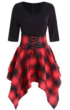 Lace Up Tartan Asymmetrical Dress Plaid Dress Spaghetti Strap Short Overalls Tops Teen Fashion Outfits, Mode Outfits, Casual Outfits, Fashion Dresses, Style Casual, Dress Casual, Casual Goth, Trendy Style, Girly Outfits