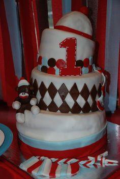 Cake at a Sock Monkey Party #sockmonkey #party