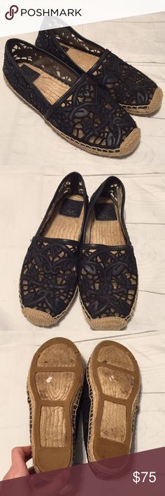 Leather lace embroidered flats. In good used condition. Comes from smoke  free and pet free home Tory Burch Shoes ...
