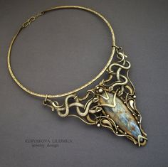 "Necklace | Kuryakova Ludmila.  ""Valley of the Serpent""  Brass and fuchsite stone"