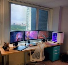 Cool Triple Monitor Battlestation And Gaming Setups Gaming Desk, Pc Desk, Computer Setup, Gaming Setup, Gaming Rooms, Computer Diy, Work Desk, Pc Setup, Desk Setup