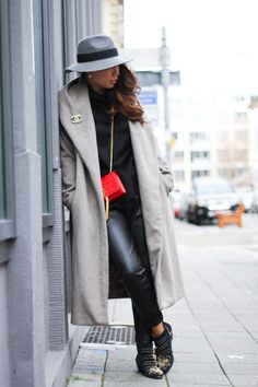 The Style Circus, grey French Connection fedora, red Saint Laurent tassel bag, Chloé susanna boots, faux leather pants, grey Zara robe coat