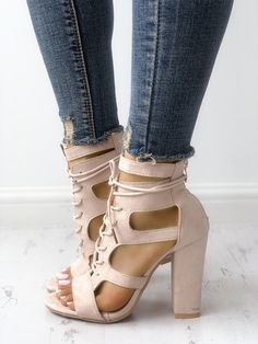 49e45deef6 Shop Lace-up Cutout Chunky Heel Sandals right now, get great deals at  Joyshoetique.