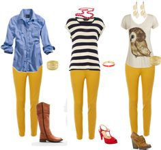 """""""Mustard Jeans-Casual"""" by anni-hispanni on Polyvore. Really want some mustard jeans!!! And all these outfits!! Especially the owl shirt!!!"""