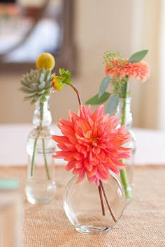 <3 <3 <3 ~ Simple summery blooms in glass vases (Photo by Lili Durkin)