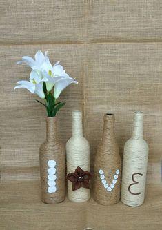 Love Bottle Set Love Decor Wedding Decor Twine by stefaniahandmade Twine Wrapped Bottles, Burlap Flowers, Housewarming Party, Wedding Decorations, Decor Wedding, Bridal Shower, Baby Shower, Rustic Decor, Party Supplies