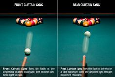 Good comparison of rear and front curtain flash sync.