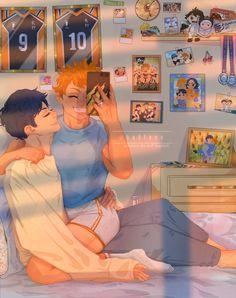 Haikyuu Funny, Haikyuu Manga, Anime Love, Anime Guys, Kagehina Cute, Kageyama X Hinata, Kurotsuki, Big Bottle, Haikyuu Ships