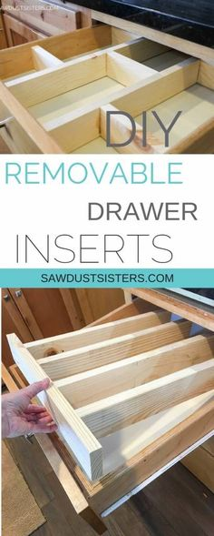 Super Easy DIY Drawer Divider Insert Custom and removable wooden DIY drawer divider inserts to help keep the chaos contained. Turn a junk drawers into a clean, organized space! Diy Drawers, Kitchen Drawers, Kitchen Drawer Inserts, Do It Yourself Furniture, Diy Furniture, Furniture Stores, Furniture Design, Kitchen Furniture, Furniture Buyers