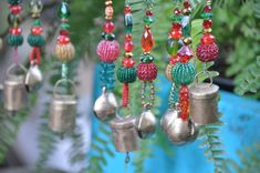 Christmas Tree Boho Bell Ornaments decoration-set #bellornaments #treedecoration #christmasgift #bohodecor #christmasornaments #gypsydecorations #bohoornament #christmasdecor #bellsornament #bohemianornaments #christmasdecoration #xmasornament #beadedornaments Beaded Ornaments, Christmas Tree Decorations, Christmas Tree Ornaments, Beads After Beads, Handmade Christmas, Christmas Gifts, Holiday Tree, Holiday Decor, Lampwork Beads
