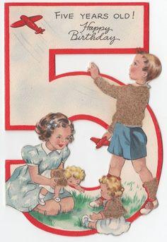 Vintage Greeting Card Children Die-Cut Age 5 Hallmark 1940s Doll Birthday a022