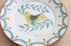 ポルトガルの手描きの平皿 小鳥×緑の葉(ガーランド・ライン) - 鳥モチーフ雑貨・鳥グッズのセレクトショップ:鳥水木      #bird #Portugal #plate #tableware #torimizuki Portugal, Tableware, Dinnerware, Tablewares, Dishes, Place Settings