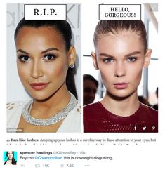 """Cosmopolitan has been heavily criticised over its choice of models in an online article about beauty trends in 2015.   Cosmo Used White Models For """"Gorgeous"""" Trends And Black Models For Trends That Needed To """"Die"""" - BuzzFeed News"""