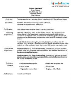 Sample Teacher Resumes