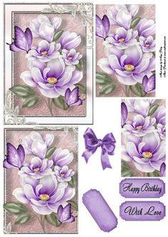 Beautiful Purple Flowers Pyramid on Craftsuprint - Add To Basket!