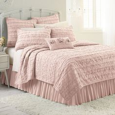 LC Lauren Conrad Allie Ruffle Quilt, Pink ($100) ❤ liked on Polyvore featuring home, bed & bath, bedding, quilts, pink, twin ruffle bedding, king size bedding, pink bedding, ruffle bedding and pink ruffle bedding