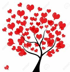 Abstract Love Tree For Valentine's Day, In Red Black Colors Royalty Free Cliparts, Vectors, And Stock Illustration. Valentines Day Drawing, Valentine Day Crafts, Valentine Decorations, Wall Painting Decor, Heart Tree, Heart Wallpaper, Quilling Designs, Art Plastique, Red Roses