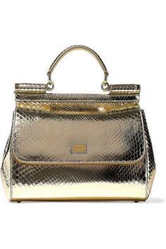 def14c3603 DOLCE  amp  GABBANA WOMAN SICILY METALLIC SNAKE-EFFECT LEATHER SHOULDER BAG  PLATINUM.
