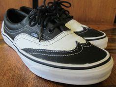 Vans Era Wingtip Black/White Leather Rare Limited Men 7.5 Womens 9 Rockabilly