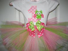 Boutique First Birthday Owl tutu set by PolkaDotCloset on Etsy, $33.00