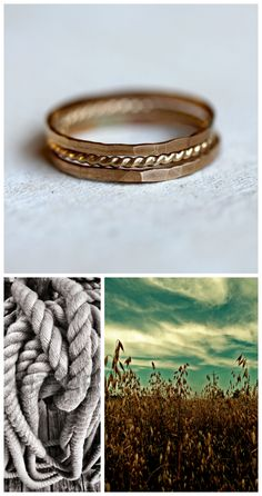 The images that inspired my new stack of solid 14k gold rings. Set of 3 14k gold stacking rings from Praxis Jewelry. Field of gold image by pixelis