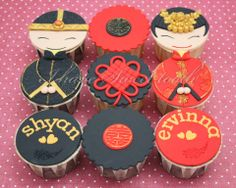 Chinese Wedding Cupcakes Chinese New Year Party, Chinese New Year Decorations, Wedding Chinese, New Year's Cupcakes, Fondant Cupcakes, Cupcake Fondant, Wedding Cookies, Wedding Cupcakes, Wedding Cake