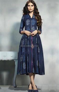 Distinguished Prussian Blue Frock Style Kurta Pattern Kurti  #DesignersAndYou #Kurti #Frock #Kurta #Pattern #KurtisOnline