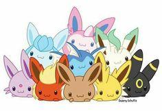 Eevee evolutions, Flareon, Jolteon, Glaceon, Leafeon, Umbreon, Espeon, Sylveon, Vaporeon, cute, pile, chibi; Pokémon