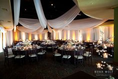 springtime brown, green, and ivory wedding. Formal reception.