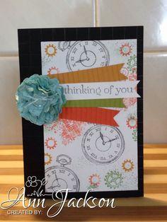 Card made using Stampin Up Clockworks, & Crimper to make paper flower.