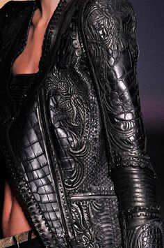 gorgeous detailed black leather jacket