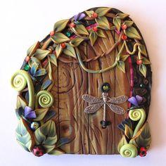 Rainforest Fairy Door Pixie Portal Polymer Clay Fairy by Claybykim, $24.00