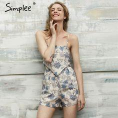 Simplee Elegancki kwiatowy print kombinezony playsuit kombinezony trykot romper kobiety Summer beach bez rękawów Backless streetwear 2017