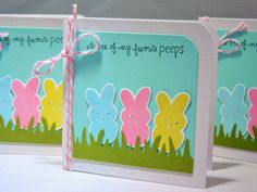 Easter Basket Tags, Mini Easter Cards, Bunny Peeps Card Set of 3 on Etsy, $5.50