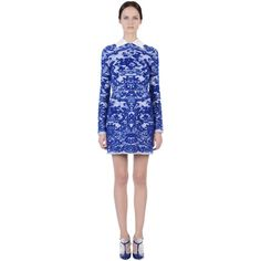 Valentino Dress blue white lace ($3,980) ❤ liked on Polyvore