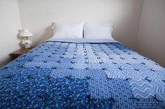 Beautiful Blue Wave Flannel Quilt, Handmade 100% cotton flannel quilt, Shades of Blue