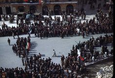 WWII in Italy- partisans parade in Arena - 5 May 1945 - Fighter Group Verona, Wwii, Street View, Group, Italy, Fotografia, World War Ii, World War Two