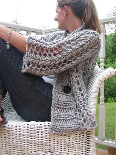 Open knit button up sweater made with SUPER chunky yarn