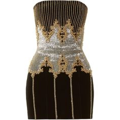 Bead-embellished bandeau dress Balmain MATCHESFASHION.COM (€545) ❤ liked on Polyvore featuring dresses, balmain, beaded dress, beading dress, bandeau dress and balmain dress