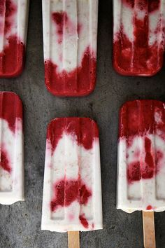 ice cream bar, roasted strawberry and toasted coconut popsicles