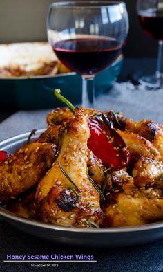 Honey Sesame Chicken Wings | giverecipe.com| #chicken_recipes #snacks #appetizers