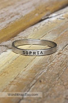 tiny minimalist personalized name ring hand-stamped - 925 sterling silver - mothers jewelry - dainty gift - custom ring - mom ring Sterling Silver Jewelry, Silver Rings, Gold Jewelry, Jewellery, Mom Ring, Mother Jewelry, Name Rings, Jewelry Quotes, Simple Jewelry