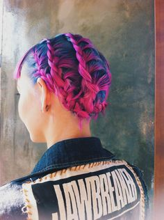 Waterfall braids! Beautiful blue and pink hair color