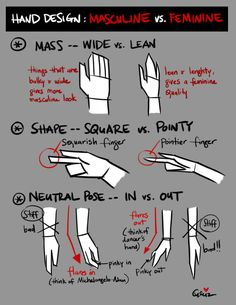 Tuesday Tips – Hand design — MASCULINE vs. FEMININE These are some design 101 that I always keep in mind whenever I'm designing hands; mass, shape, and pose. The basic rule of thumb for mass and shape is, the bulkier and wider the shape; Hand Reference, Anatomy Reference, Drawing Reference, Hand Manga, Drawing Techniques, Drawing Tips, Drawing Style, Drawing Ideas, Hand Pose