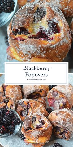 These Blackberry Popovers are a true melt-in-your-mouth breakfast treat, guaranteed to impress guests. Easier to make th Easy Desserts, Delicious Desserts, Yummy Food, Scones, Popover Recipe, Sweet Recipes, Breakfast Recipes, Cooking Recipes, Favorite Recipes
