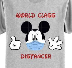 Custom Mickey Mouse Social Distance T Shirt Walt Disney Vacations, Disney Trips, Darth Vader T Shirt, Disney Diy Crafts, Mickey Mouse T Shirt, Disney Designs, Silhouette Vinyl, Star Wars Tshirt, Travel Shirts